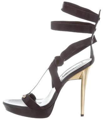 Halston H by Embellished Ankle-Strap Sandals