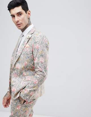 Blend of America Gianni Feraud Wedding Skinny Fit Linen Floral Suit Jacket