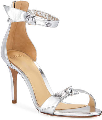 Alexandre Birman Asymmetric Clarita Metallic Ankle-Strap Sandals