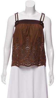 Gucci Sleeveless Broderie Anglaise Top