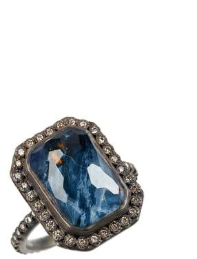Armenta Old World Midnight Emerald-Cut Quartz & Diamond Ring