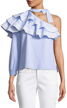 Contemporary Designer Isla Striped One-Shoulder Blouse