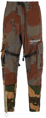Off-white - Reconstructed Camouflage Cotton Cargo Trousers - Mens - Khaki