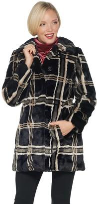 Isaac Mizrahi Live! Faux Fur Plaid Printed Snap Front Coat
