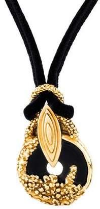 Saint Laurent Onyx Pendant Necklace