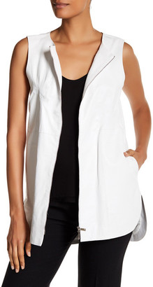 Lafayette 148 New York Athena Embossed Leather Vest $998 thestylecure.com