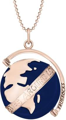 True Rocks Medium Spinning Globe Rose Gold Plate & Midnight Blue Enamel