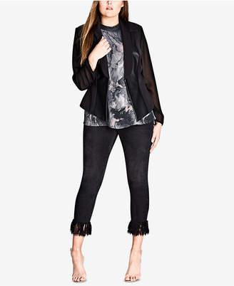 City Chic Trendy Plus Size Illusion-Sleeve Jacket