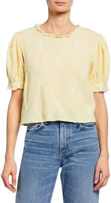 LoveShackFancy Addie Button-Back Puff-Sleeve Pintuck & Lace Crop Top