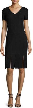 St. John Collection Moda Knit V-Neck Short-Sleeve Carwash Dress, Caviar $1,095 thestylecure.com
