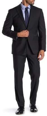 Calvin Klein Black Mini Pindot Slim Fit Notch Collar 2-Piece Suit