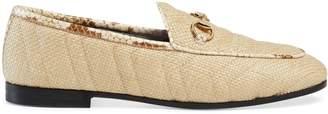 Gucci Women's Jordaan chevron raffia loafer