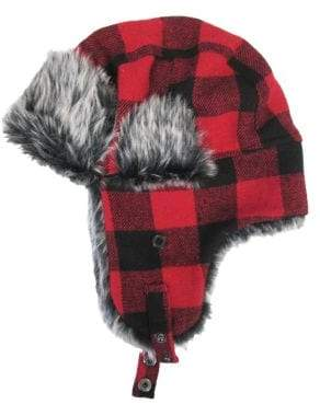 4b04a30cb07 ... London Fog Buffalo Checked Faux Fur-Trimmed Trapper Hat