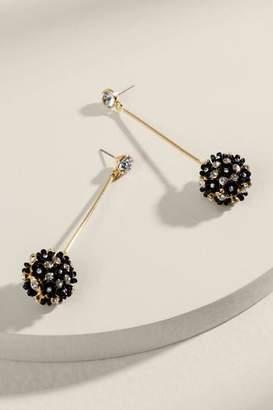 francesca's Gracie Flower Bauble Drop Earrings - Black