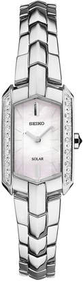 Seiko Women's Solar Tressia Diamond Accent Stainless Steel Bracelet Watch 15mm SUP329 $425 thestylecure.com