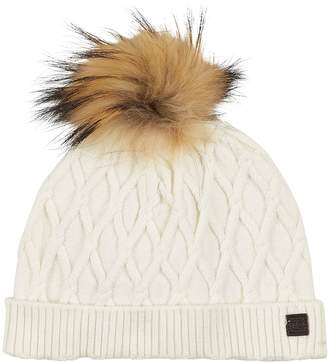 Tartine et Chocolat Cable Knit Fur Bobble Hat