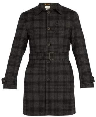 Oliver Spencer Prestwick Checked Wool Coat - Mens - Grey Multi