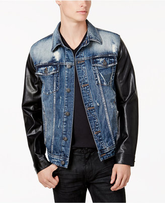 Inc International Concepts Men's Denim Jacket With Faux-Leather Sleeves, Created for Macy's $99.50 thestylecure.com