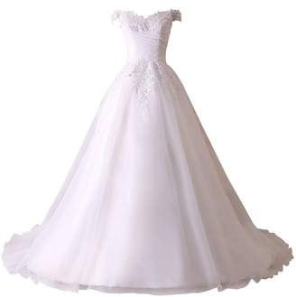 Church's JinXuanYa 2018 Women`s Court Train Beach Applique Bride Wedding Dress(US,)