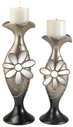 OK Lighting FLORAL GLAMOUR CANDLE HOLDER SET