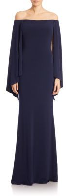 Jovani Off-Shoulder Loose-Sleeve Gown $410 thestylecure.com