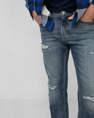 Express Slim Medium Wash Destroyed Soft Cotton Jeans