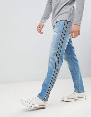 Jack and Jones Side Stripe Tapered Jeans