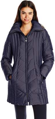Anne Klein Women's 35 Inch Chevron Down Coat with Faux Fur Trim Hood