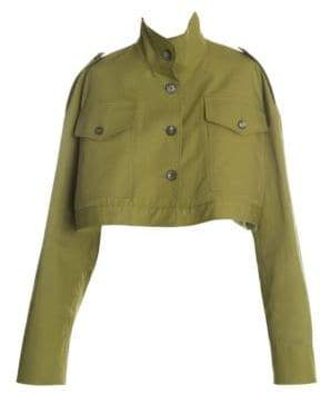 Off-White Women's Cotton Cropped M65 Field Jacket - Green White - Size 44 (8)