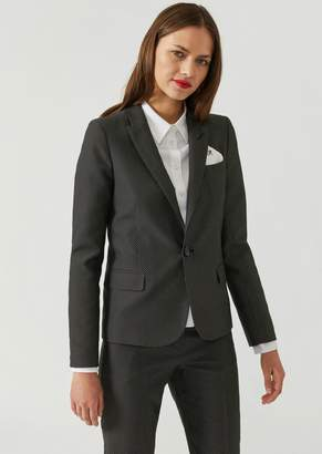 Emporio Armani Single-Breasted Polka Dot Fabric Jacket With Embroidered Pocket Square