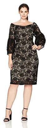 Adrianna Papell Women's Plus Size Juliet Lace Off-Shoulder Sheath Dress,22W