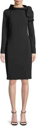 Badgley Mischka Long-Sleeve Self-Tie Sheath Dress