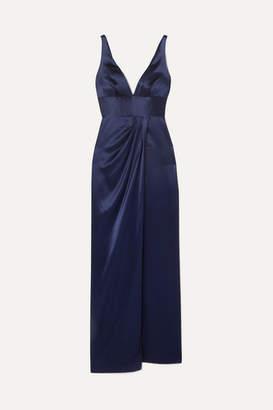 Naeem Khan Draped Silk-satin Gown - Navy
