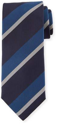 Canali Large Diagonal Stripe Silk Tie, Blue