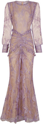 Alessandra Rich Lilac & Gold Lace Ruched Gown