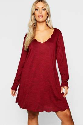 boohoo Plus Knitted Scallop Edge Dress
