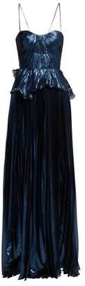 Maria Lucia Hohan Godiva Pleated Silk Blend Gown - Womens - Blue