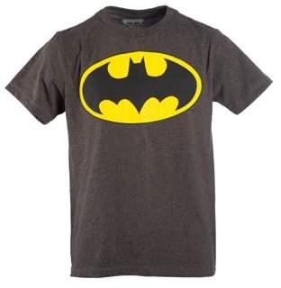 Boy's Charcoal DC Comics Batman Logo with HD Ink Short Sleeve Tee