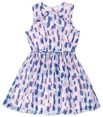 Kate Spade Ruffle-Trim Brush Stroke-Print Sleeveless Dress, Size 7-14