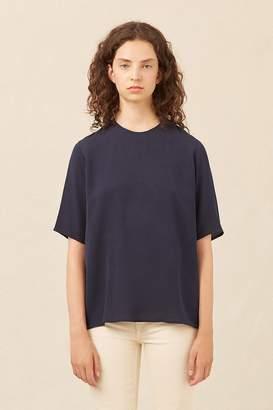 Mansur Gavriel Silk Short Sleeve Blouse - Blu