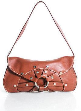 CelineCeline Brown Leather Grommet Rivet Baguette Shoulder Handbag