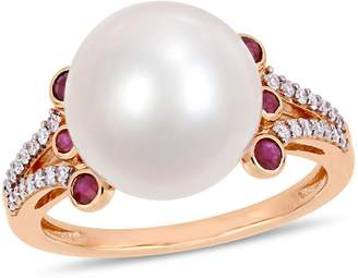 Concerto 10K Rose Gold, 11-12MM Cultured Freshwater Pearl, Ruby 0.14 CT. T.W. Diamond Ring