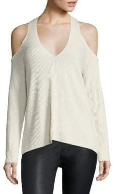 Le Sexy Ribbed Cashmere Cold Shoulder Pullover