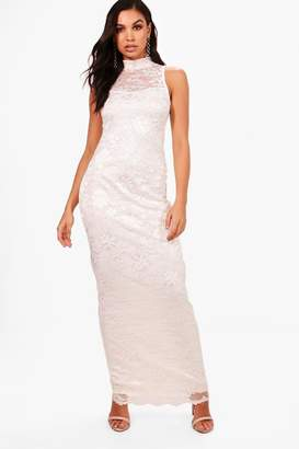 boohoo Lace Scallop Maxi Dress