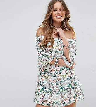 Glamorous Petite Allover Printed Off Shoulder Skater Dress With Fluted Sleeve Detail