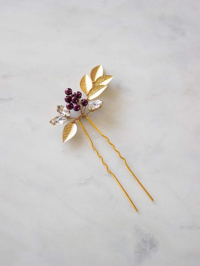 Etsy Bridal Hair Comb | Wedding Hair pins | Wedding Hair Accessories | Gold Leaf Hair Pin | Berries Vine
