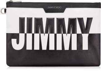 Jimmy Choo DEREK Black and White Bicolour Leather Document Holder with Embossed Logo