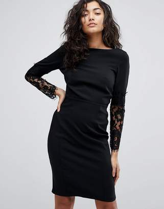 Paper Dolls Lace Sleeve Pencil Dress
