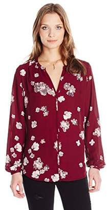 Paris Sunday Women's Long Sleeve Ditzy Floral Print Georgette Blouse