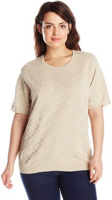 Alfred Dunner Women's Plus-Size Short Sleeve Sweater Shell